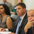 Drought Management Task Force members -- co-chair and Executive Office of Energy and Environmental Affairs' assistant director of water policy, Vandana Rao, left; Energy and Environmental Secretary Matthew Beaton, center; and Department of Environmental Protection Commissioner Martin Suuberg -- met Thursday and received an update on drought conditions from various state and federal agencies.
